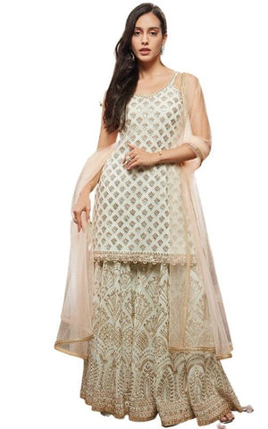 Off White and Gold Sharara Suit