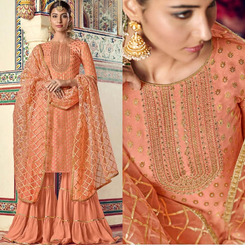 Peach and Golden Gharara Suit