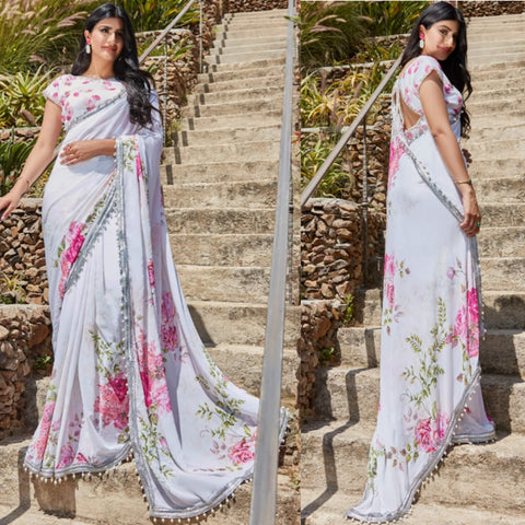 Pleasant Pink and white floral Saree