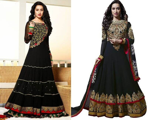 Shraddha Black and Gold Embroidered Anarkali Suit