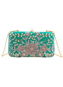 Teal Green Floral Embroidered Clutch Bag