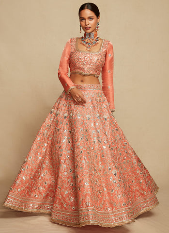 Off White and Coral Embroidered Georgette Suit
