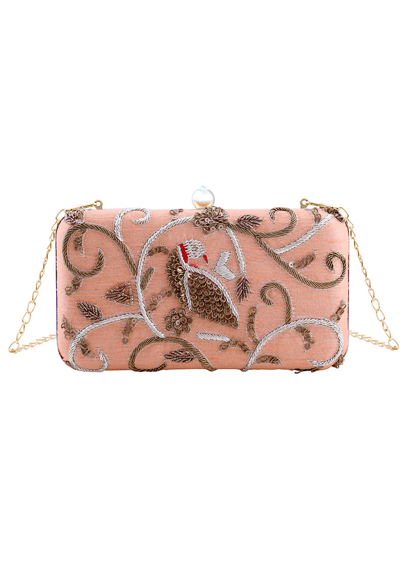 Light Pink Embroidered Clutch Bag