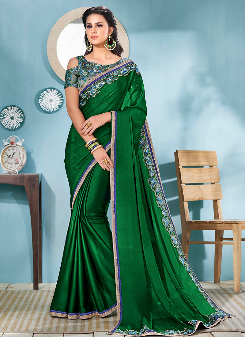 Dark Green and Grey Embroidered Silk Saree