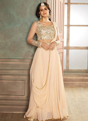 Blush Embroidered Lehenga Style Saree