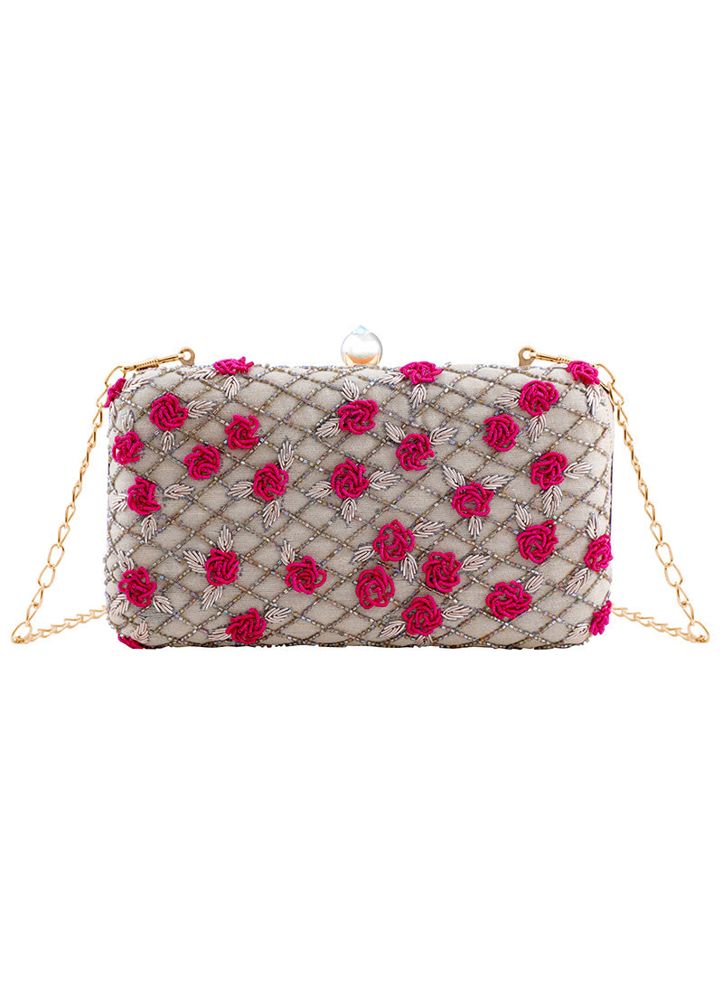 Golden Cream and Pink Embroidered Clutch Bag