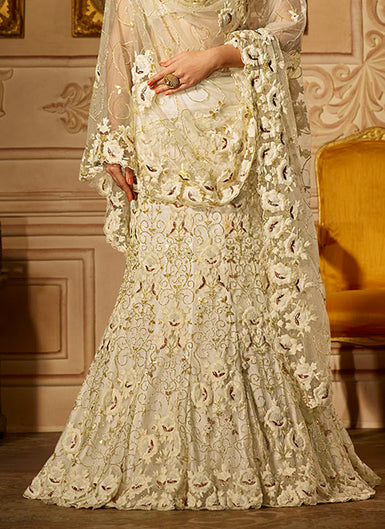 Off White Heavy Embroidered Lehenga
