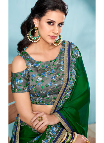 Dark Green and Grey Embroidered Silk Saree - Lashkaraa