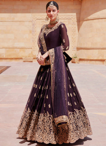 Deep Purple Heavy Embroidered Anarkali Suit