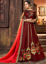 Maroon and Pink Embroidered Silk Lehenga