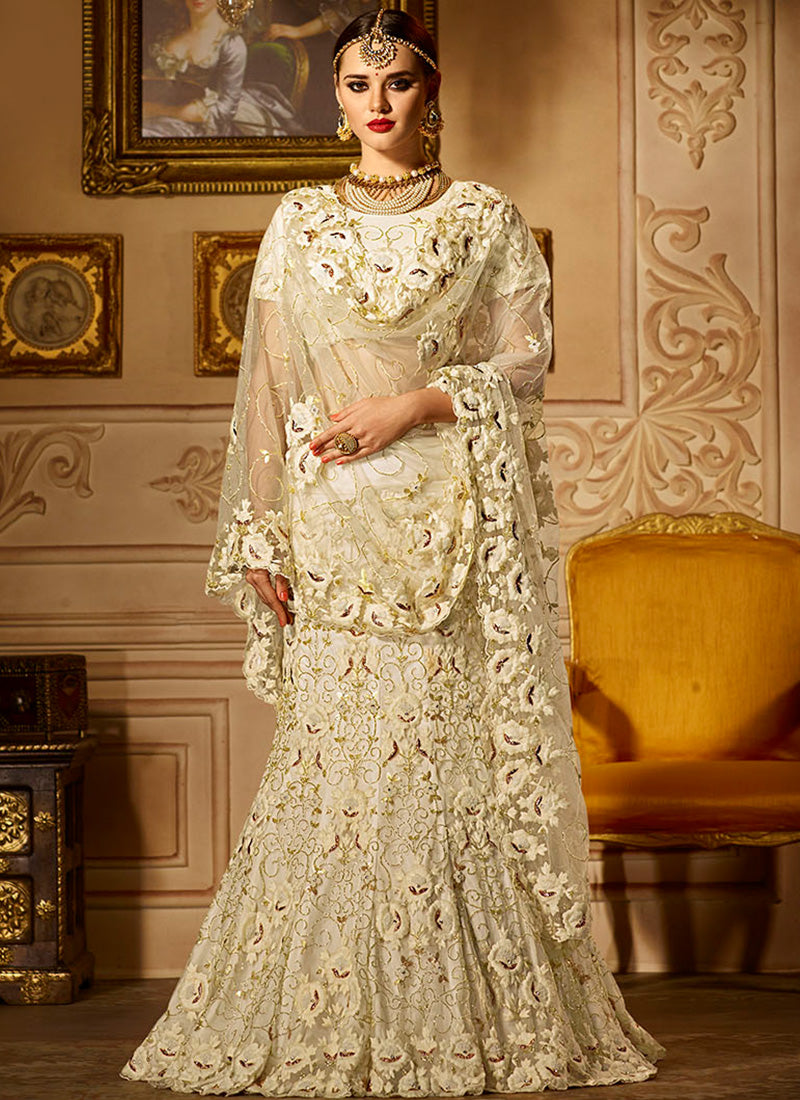 Off White Heavy Embroidered Lehenga Lashkaraa