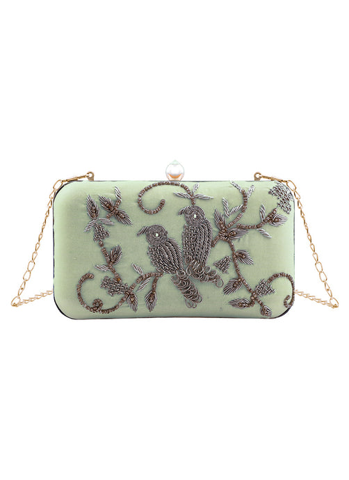 Light Blue Embroidered Birds Clutch Bag