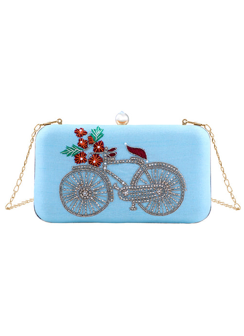 Light Blue Embroidered Bicycle Clutch Bag