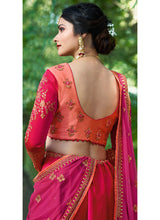 Multicolor Pink Embroidered Art Silk Lehenga
