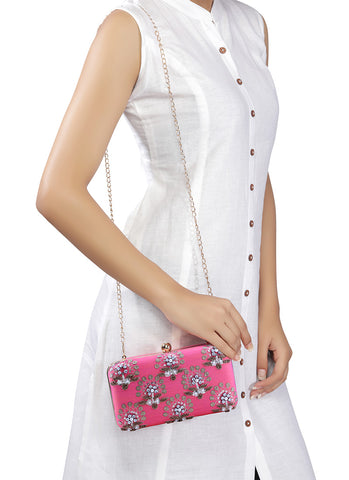 Pink Floral Embroidered Clutch Bag