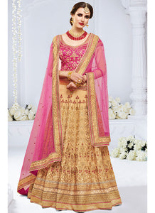 Magenta and Beige Embroidered Silk Lehenga