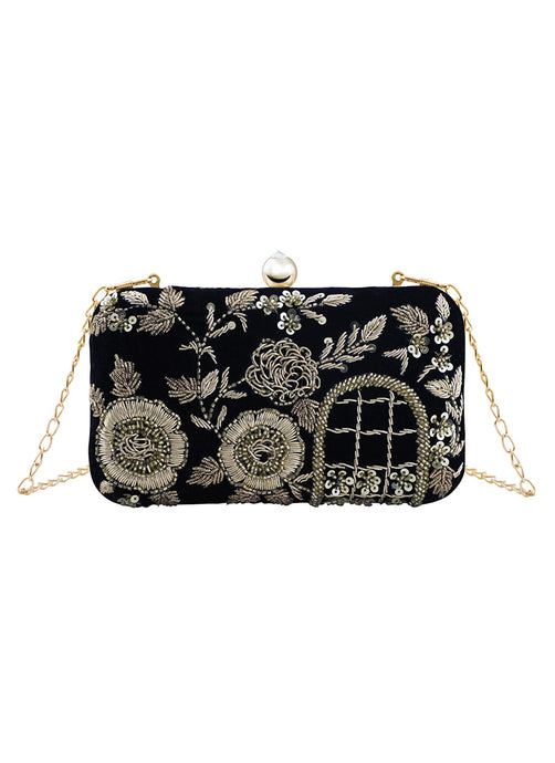 Black and Gold Embroidered Clutch Bag