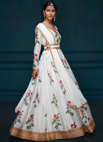 White Floral Printed Satin Anarkali