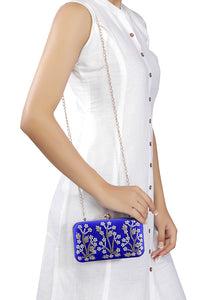 Royal Blue Embroidered Clutch Bag