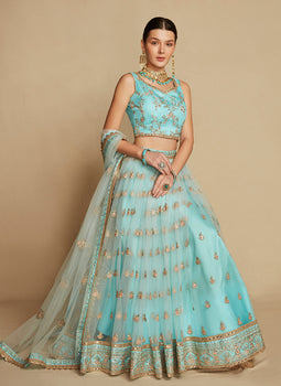 Sky Blue and Gold Embroidered Lehenga