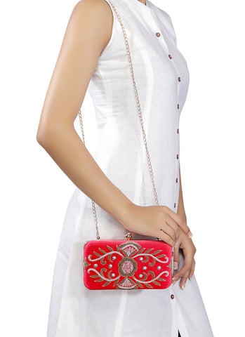 Red Embroidered Clutch Bag