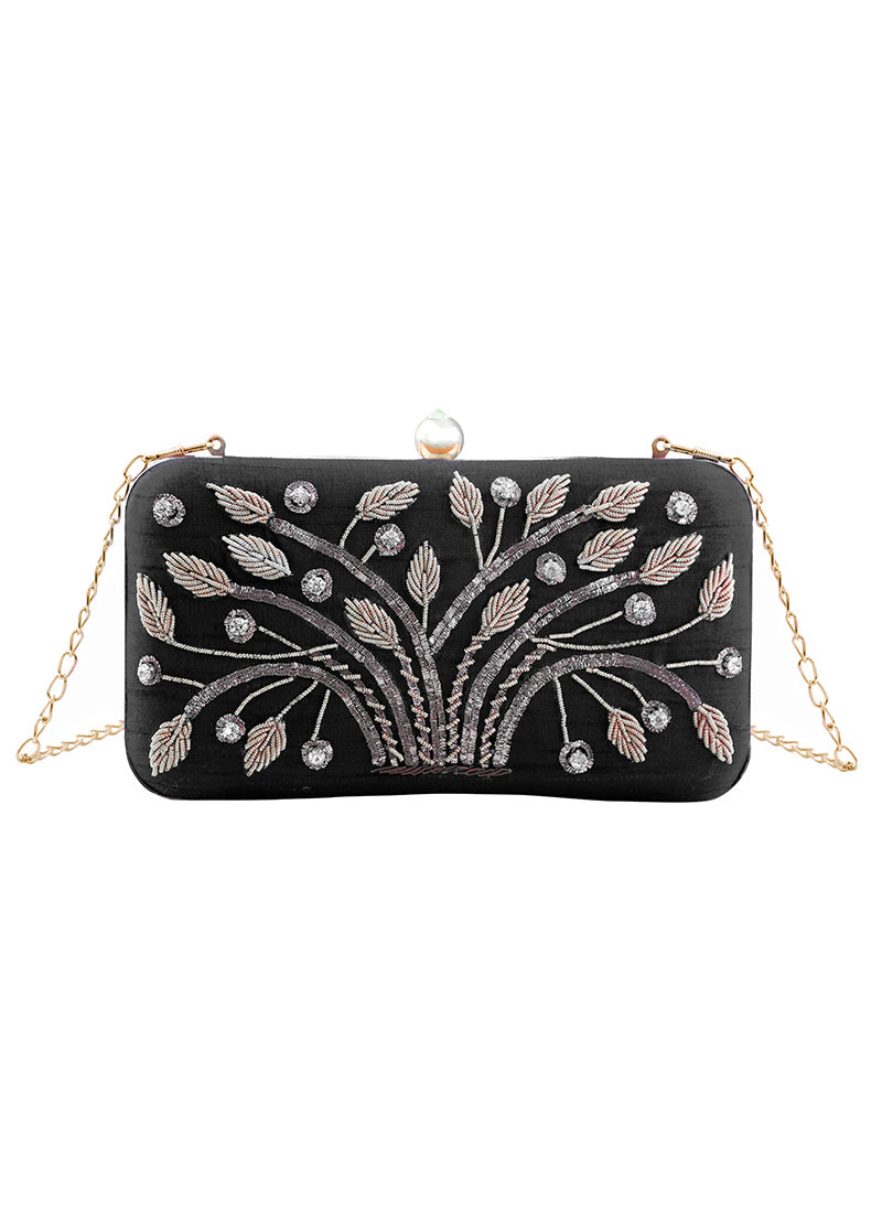 Dark Blue and Silver Embroidered Clutch Bag - Lashkaraa