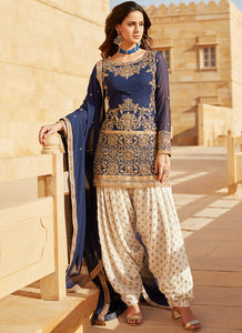 Navy Blue and White Embroidered Punjabi Suit