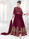 Burgundy Embroidered Georgette Anarkali Suit
