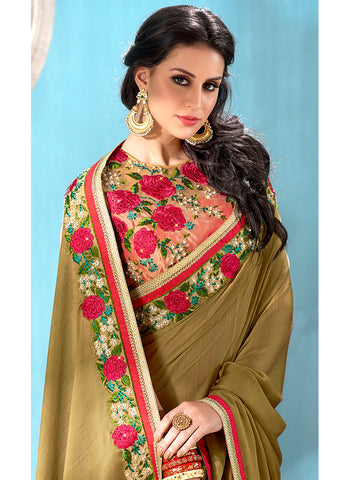 Olive and Beige Floral Embroidered Chiffon Saree