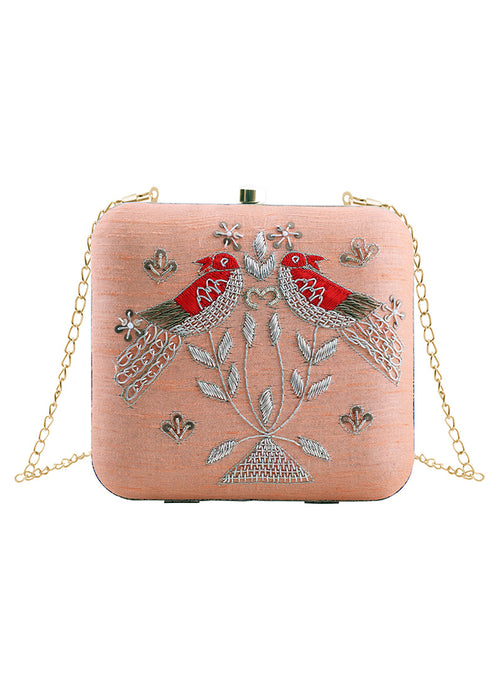 Light Pink Embroidered Birds Clutch Bag