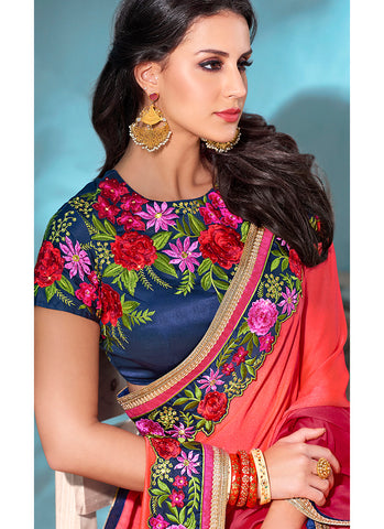 Navy Blue and Orange Multicolor Embroidered Chiffon Saree