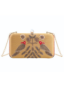 Mustard Embroidered Birds Clutch Bag