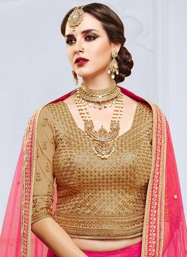 Pink and Beige Embroidered Silk Lehenga