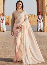 Blush Pink Heavy Embroidered Saree - Lashkaraa