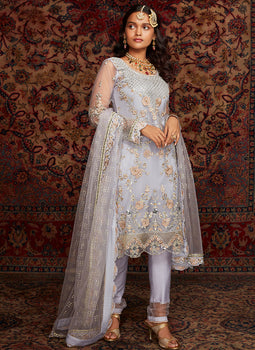 Soft Periwinkle Embroidered Straight Suit