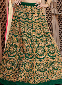 Green and Beige Embroidered Silk Lehenga