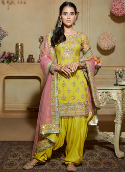 Lime Green and Pink Embroidered Punjabi Suit