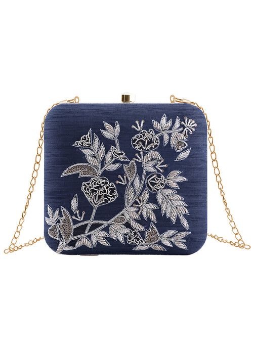Navy Blue Floral Embroidered Clutch Bag
