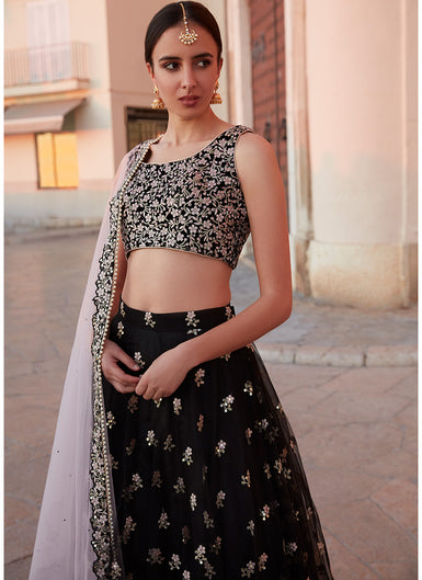 Black and Light Pink Embroidered Net Lehenga - Lashkaraa