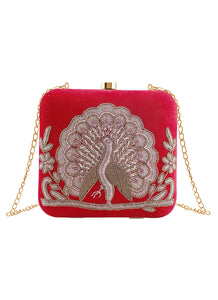 Red Peacock Embroidered Clutch Bag