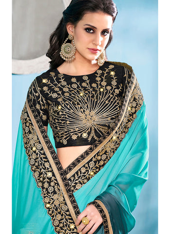 Light Blue and Black Embroidered Silk Saree
