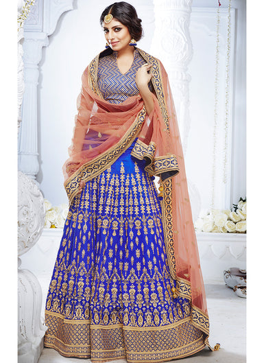 Blue and Peach Embroidered Silk Lehenga