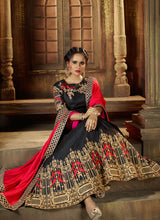 Black and Red Embroidered Silk Lehenga - Lashkaraa