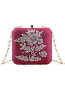 Maroon Rose Embroidered Clutch Bag