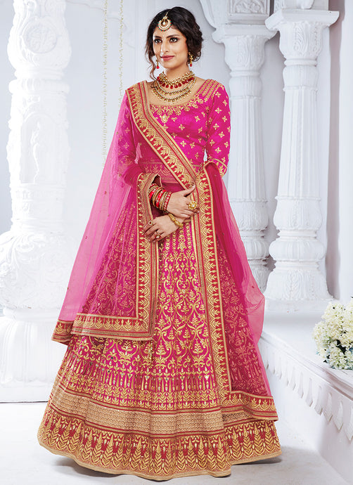 Magenta Embroidered Silk Lehenga