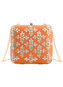 Orange Floral Embroidered Clutch Bag