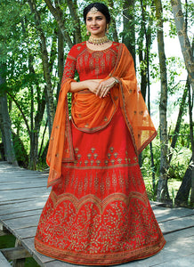 Dark Orange Embroidered Art Silk Lehenga