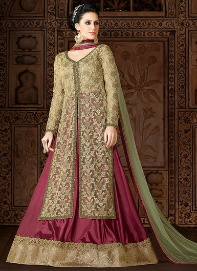 Light Green and Magenta Embroidered Net Lehenga