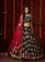 Dark Green and Crimson Pink Embroidered Lehenga