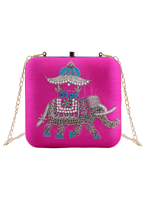 Hot Pink Embroidered Elephant Clutch Bag